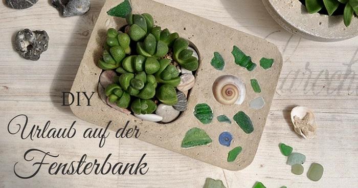 Blumentopf aus Beton mit Strandglas DIY