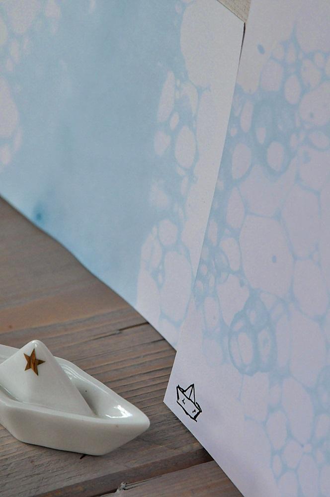 Papier gestalten mit Seifenblasen