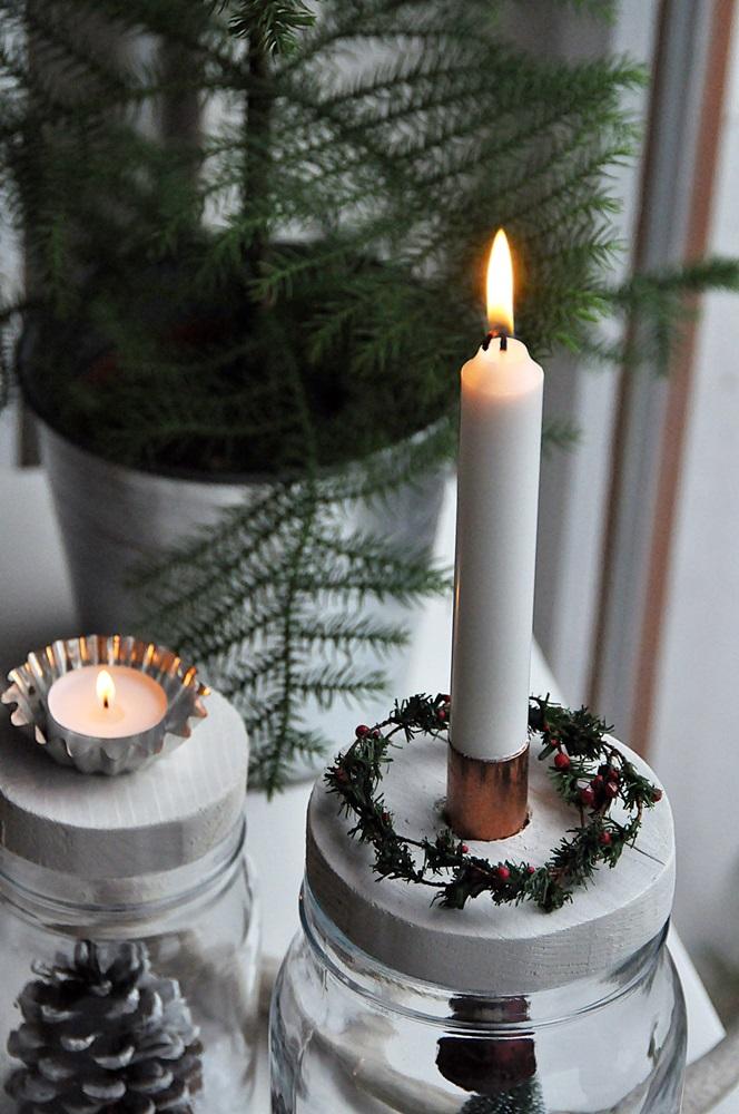 DIY Weihnachtsdeko Kerzenständer im Glas selber machen