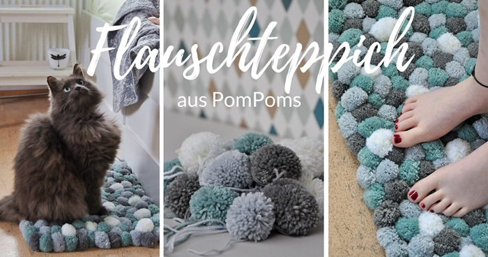 diy flauschteppich aus pompoms einfach selber machen. Black Bedroom Furniture Sets. Home Design Ideas