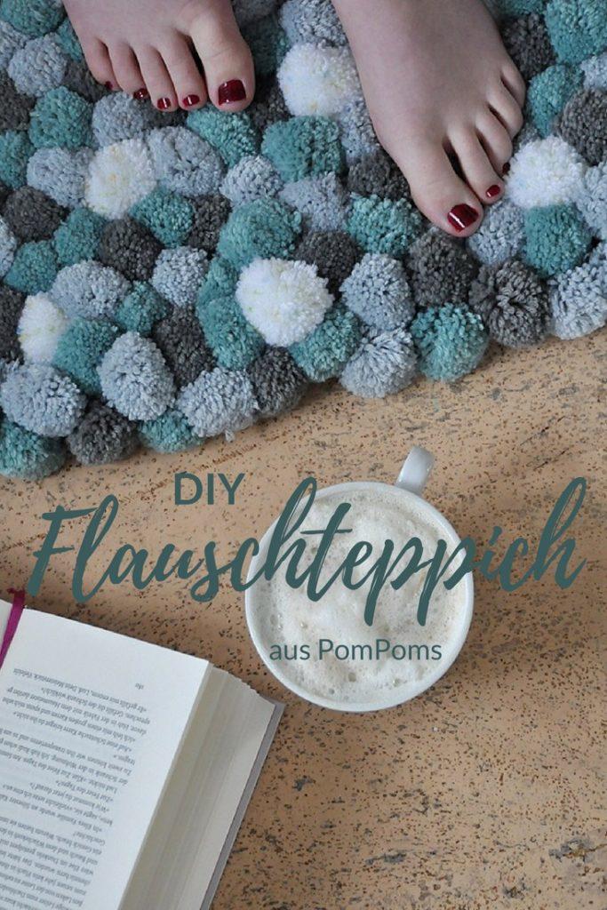 DIY Teppich aus Pompoms selber machen