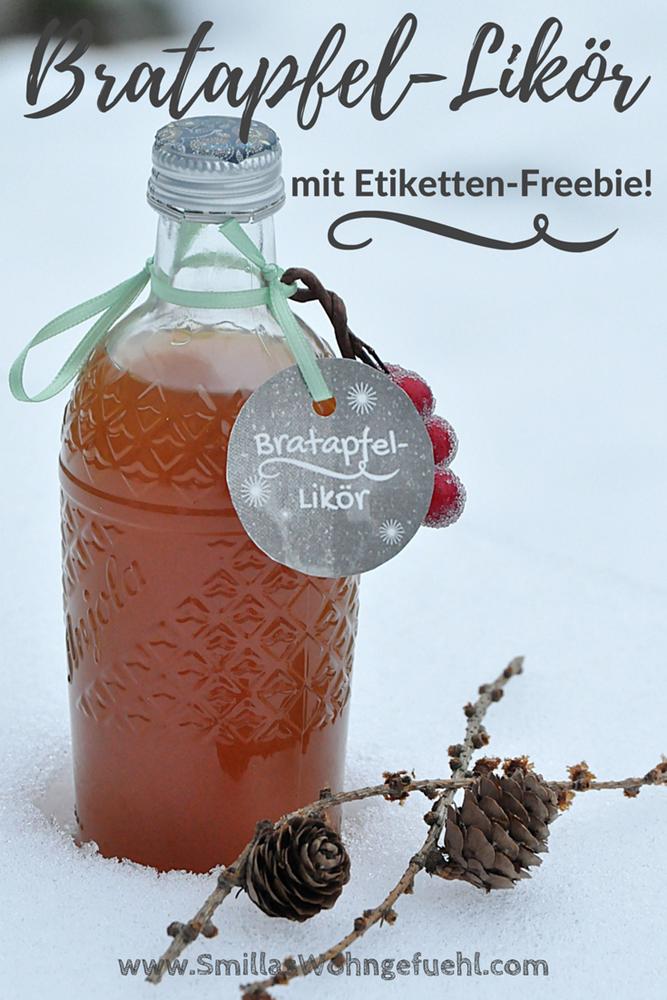 Bratapfel-Likör mit Etikett zum Download Freebie