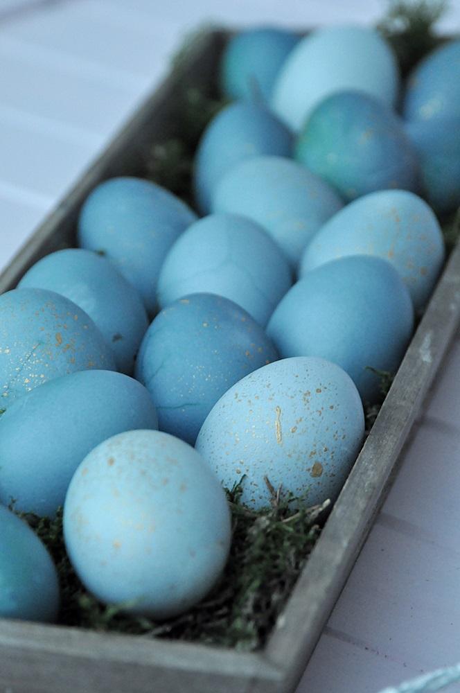 Ostereier natürlich färben blau mit Gold